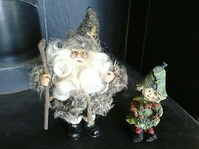 Rustic Father Christmas Santa Claus and Holly Berry Elf figurines