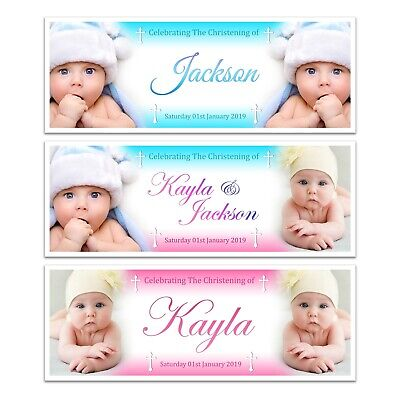 X 2 Personalised Christening Naming Day Baptism Name Photograph Banners Boy Girl