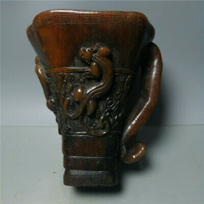 """2.6/""""Collect Chinese Bronze Animal Auspicious Dragon Phoenix Cann Goblet Wine Cup"""
