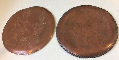 2 Vintage Egyptian Egypt Hand Hammered Copper Wall Plaques Pyramids Camel