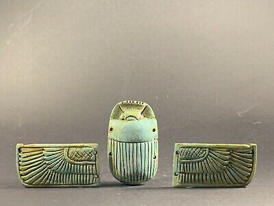 Beautiful Ancient Egyptian Faience Winged Scarab W/ Hieroglyphs Circa 990-332Bc