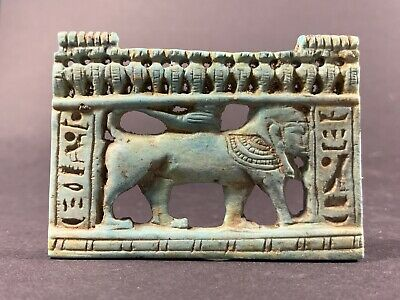 Ancient Egyptian Faience Amulet Featuring Sphinx And Hieroglyphs Circa 770-330Bc