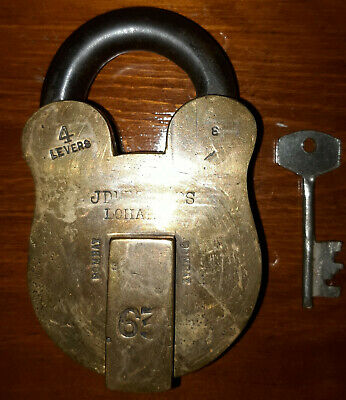 Old Vintage Antique Brass Iron Lock Padlock with Key Bombay India 4 Levers