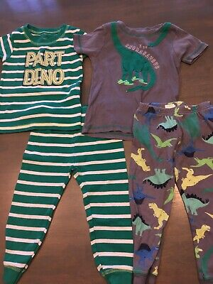 Lot Of 2 Baby Boys 2 Piece Short Sleeved Long Pants Spring Pajamas Carter's 12 M