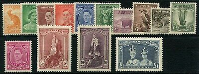 Australia SG 164 - SG 178 1937-1949 Set Of 14 Mounted Mint Cat £250.00