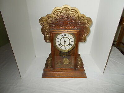 Antique Waterbury 8 Day Striking 'Henshaw' Shelf Mantle Clock 2 Labels