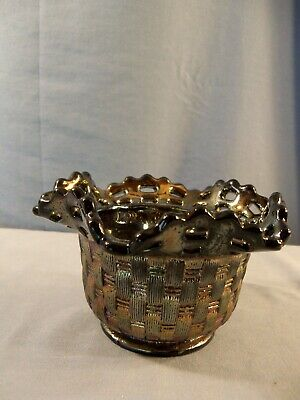 Fenton Amethyst Carnival Glass Basketweave Open Edge Bowl Candy Dish