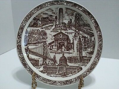 vintage city of san francisco california plate vernon kilns usa brown souvenir
