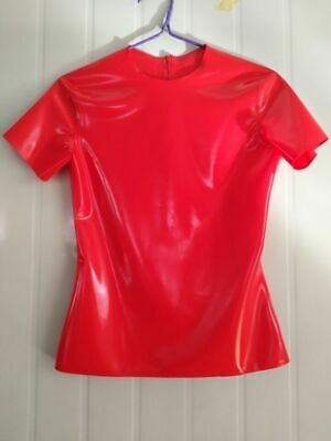 Gummi Latex Top Red Short Slevees Top Mini With Zipper 0.4mm Size S-XXL