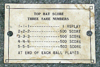 1968 Chicago Coin Playtime 2-Player Pinball Machine Original Top Hat Score Card