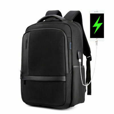 Anti-theft Mens Womens USB Charging Backpack Laptop Notebook Travel Bag