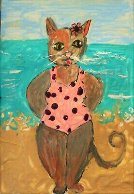 cat kitten in bathing suit whimsy ACEO by Award Winning Artist Stacey Torres