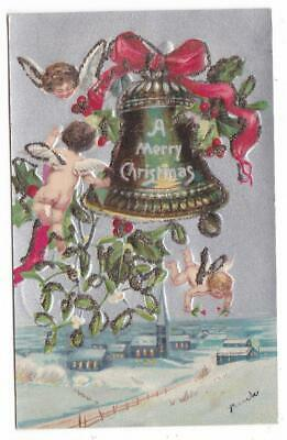 Christmas embossed glittered postcard ~ angels bell town