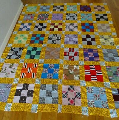 """Quilt Top Unfinished Machine Stitched Blocks 3 Inch Squares 71x82"""""""