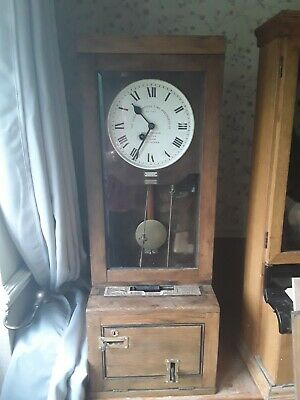 Gledhill Brook Fusee Clocking In Machine Oak Cased Time Recorder Working Order