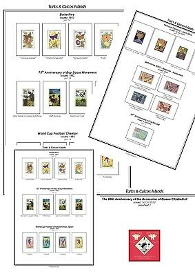 Print your own Turks and Caicos Stamp Album, fully illustrated and annotated