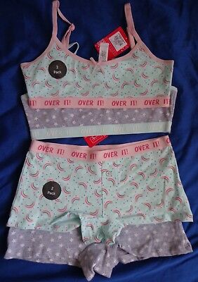 Girls first bra crop vest briefs boxers pants, Choice of designs: flamingo panda