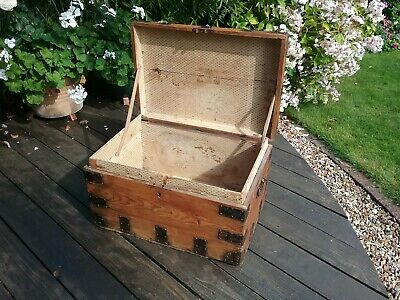 Antique pine chest 19th century, maker's label,  travelling chest packing case