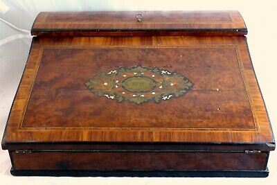 "Antique French Napoleon III Marquetry Inlay 13"" Ecritoire Writer's Box Boulle"