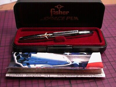 Rare Fisher Space Pen Bullet Chrome Cap Gold 747 Jet Plane Made in USA