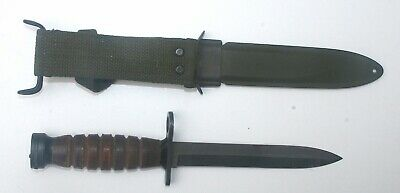 US Original WWII Model Leather Grip Imperial M1-Carbine Bayonet  W/ Scabbard