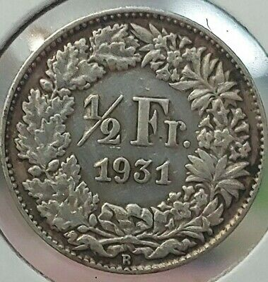 1931 Switzerland 1/2 Franc KM# 23, SILVER COIN,Fineness: 0.8350, #295