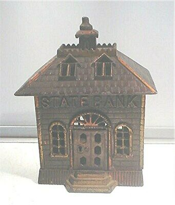 Antique Cast Iron  State Bank Still Penny Bank