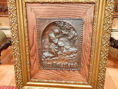 Rare Copper Relief Plaque Of Woman Kneeling And Praying Over Grave
