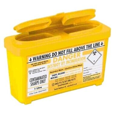 THIRTY x 1 Litre Sharps Needle Bin Box, Medical Waste, Lightweight 1000 ml