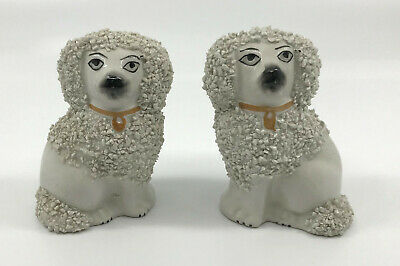 Victorian Antique Staffordshire Ware England Spaniel Dog Figurines Pair