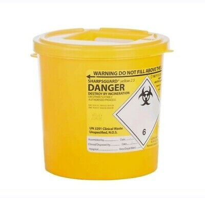 48 X Sharpsguard Sharps Bin 2.5 litre Yellow Sharps Container Needles 2500ml