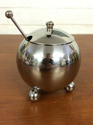 Stainless Steel Condiment Pot With Lid and Spoon - Tripod Round Feet
