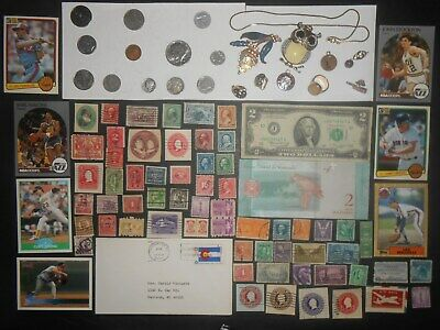 JUNK DRAWER LOT_OLD U.S.A.Coins 1939 MERCURY DIME, Banknotes, Stamps 1901 Nickel