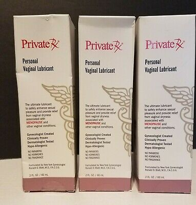 Lot of 3 - Private Rx PERASONAL VAGINAL LUBRICANT Dryness Relief, 2 oz each box