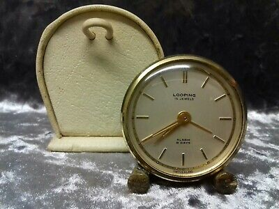 Looping 15 Jewels - Alarm 8 Days - Mini Clock - With Carry Case - Working