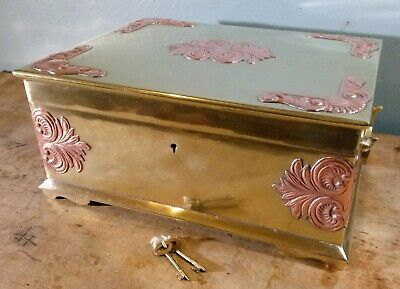 Large Vtg Antique Solid Brass Jewelry Box Lock W/Keys Made India Marked/Numbered