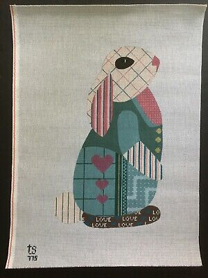 ts Designs Hand-painted Needlepoint Canvas Large Patchwork Pattern Rabbit/Yarn
