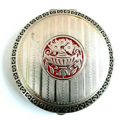 Vintage Art Deco Silver Tone Powder Compact with Black & Red Champleve Enamel.
