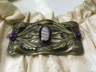 ANTIQUE VICTORIAN Sash / BROOCH PIN 3 Purple Glass Stones w/C Clasp