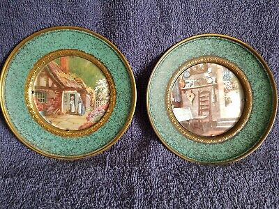 """Solid Brass Wall Hanging Plates Foil Art Pictures ;5.5""""D; England; Lot of 2"""