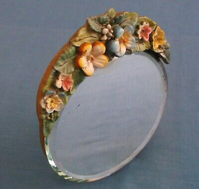 VINTAGE SMALL BARBOLA FLOWERS ROUND EASEL DRESSING TABLE MIRROR ART DECO c1930s
