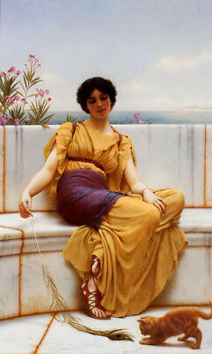 Dream-art Oil painting john william godward - idleness young woman lady girl cat