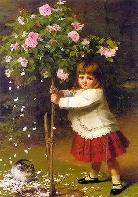 Dream-art Oil painting james hayllar - plagues of the garden little girl & roses