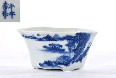 Old Japanese Blue & White Arita Imari Porcelain Tea Cup Bowl Chinese Calligraphy