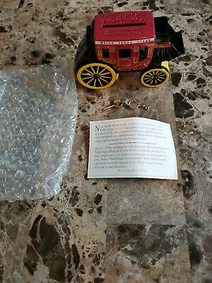 NEW! WELLS FARGO Stagecoach Metal Coin Bank Piggy Fast shipping! WITH KEY!