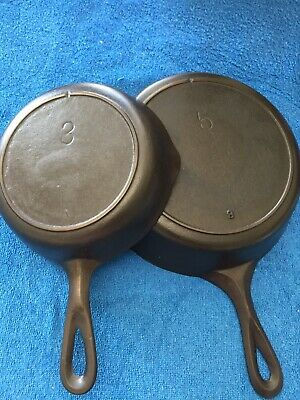 Vintage Lodge Single Notch #5 And #3  Cast Iron Skillet With Heat Ring