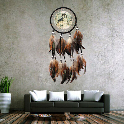 Dream Catcher Brown with feathers wall Hanging Decoration Decor Ornament wolf w