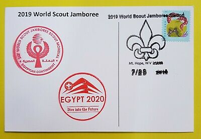 24th world scout jamboree 2019  Postmark on USPS official postcard and EGYPT