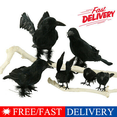 Black Lifesize Raven Movie Prop Fake Crow Halloween Fake Bird Hunting Decor sm