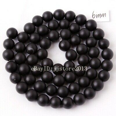6mm Natural Frosted Black Agate Onyx Round Shape DIY Gems Loose Beads Strand 15""
